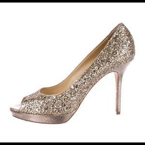 NWT Gold Glitter Jimmy Choo Peep Toe 38.5 (8US)